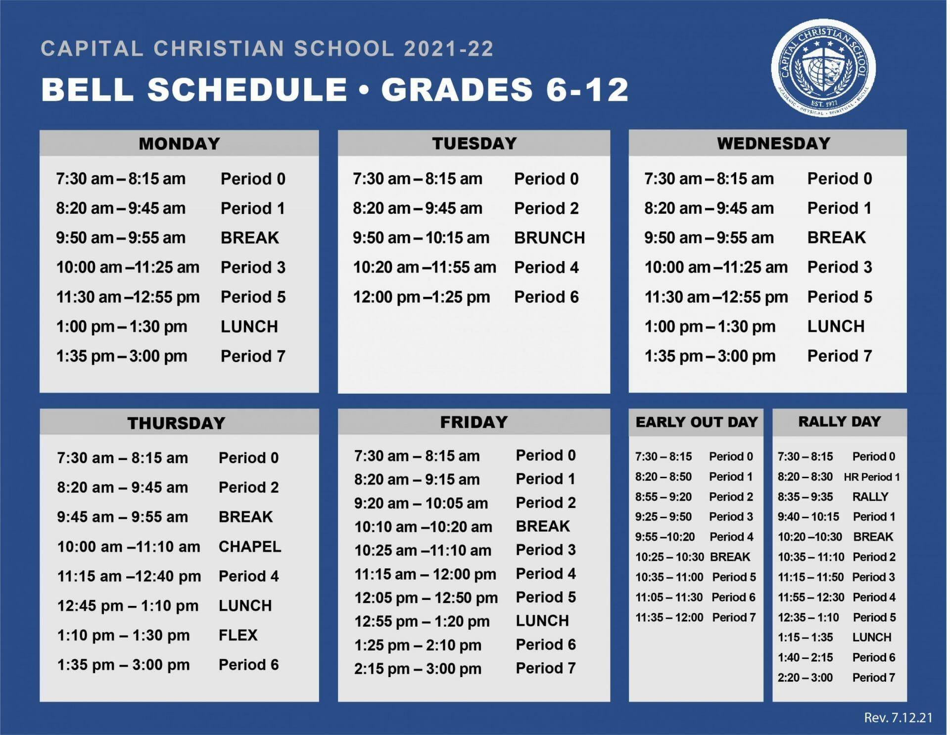 Bell Schedule 2021-22